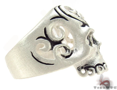 Mens Silver Skull Ring 31329 Metal