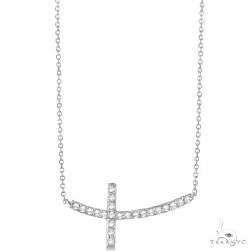 Diamond Sideways Curved Cross Pendant Necklace 14k White Gold Stone