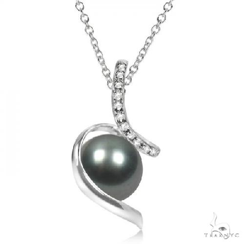 Diamond Twist Tahitian Cultured Pearl Pendant 14K White Gold 11-12mm Stone