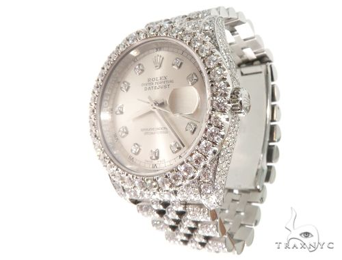 Custom Fully Iced Out Datejust Rolex Watch Diamond Watch Inactive