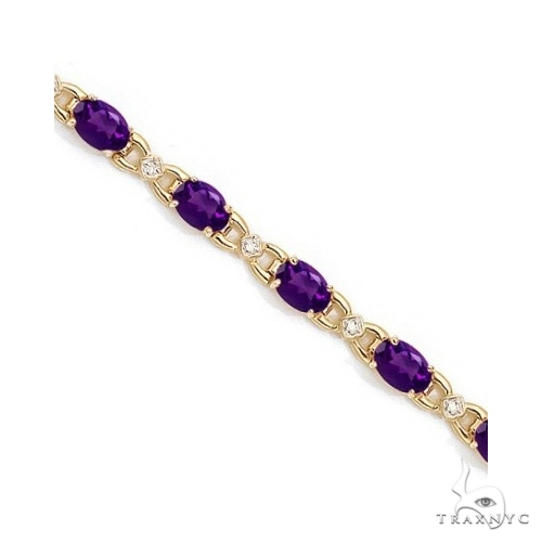 Diamond and Amethyst Bracelet 14k Yellow Gold Gemstone & Pearl
