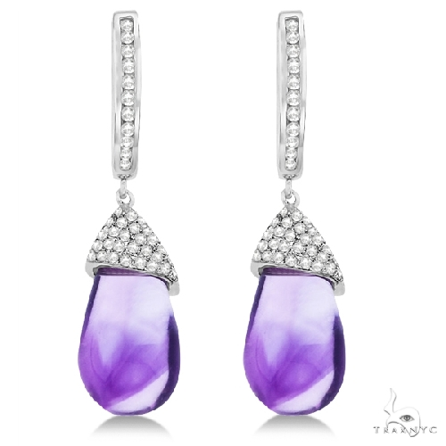 Diamond and Amethyst Drop Earrings Pear Shape 14K White Gold Stone