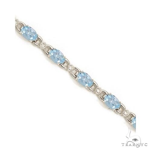 Diamond and Aquamarine Bracelet 14k White Gold Gemstone & Pearl