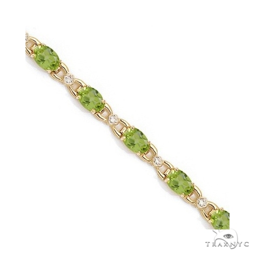 Diamond and Peridot Bracelet 14k Yellow Gold Gemstone & Pearl