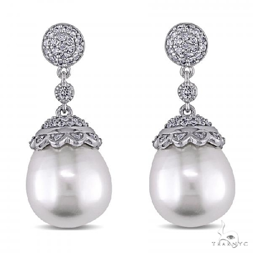 Diamond and White South Sea Pearl Ear Pin Earrings in 14k White Gold 12.5-13mm Stone