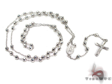 Dipped Iced Out Silver Rosary 18 Inches 4mm 10.3 Grams Silver