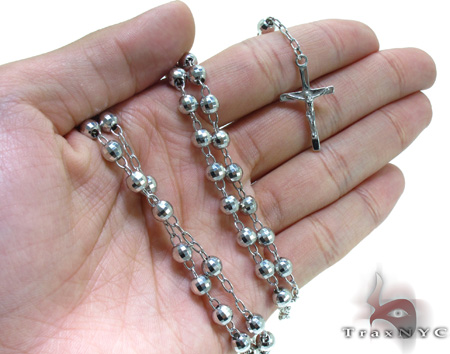 Dipped Iced Out Silver Rosary 18 Inches 6mm 23.7 Grams Silver