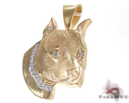 Dog Yellow Gold Diamond Pendant Metal