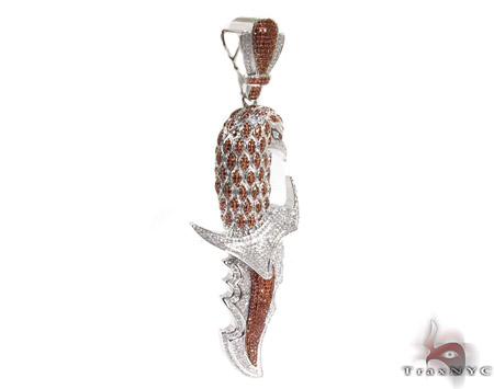 Eagle Head Red and White Diamond Pendant 26572 Metal