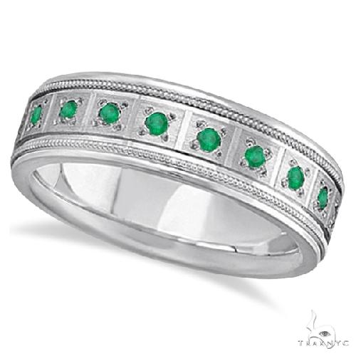 Emerald Ring for Men Wedding Band 14k White Gold Stone