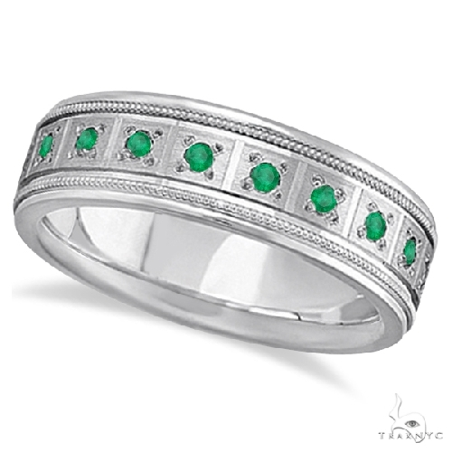 Emerald Ring for Men Wedding Band 18k White Gold Stone