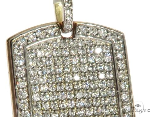 Engrave Your Text Diamond 14K Gold Dog Tag Charm Pendant Style