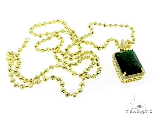 Fancy Green CZ Silver Pendant and Moon Cut Chain Set 49596 Metal