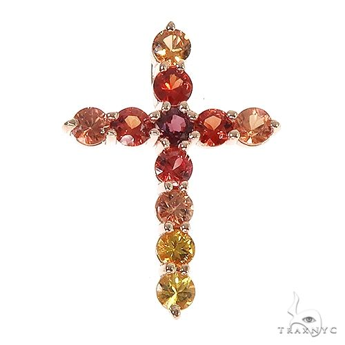 Fire Sapphire Cross Pendant 67007 Multicolor SAPPHIRE