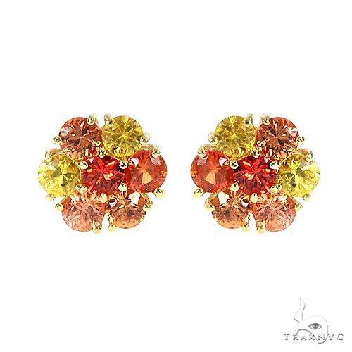 Large Fire Sapphire Flower Earrings 66770 Style