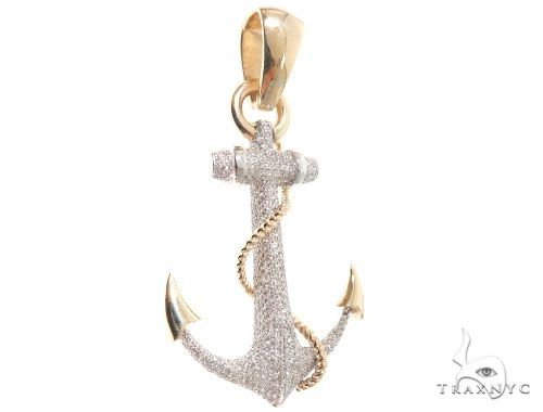Flower Set Diamonds Anchor Charm Pendant Metal