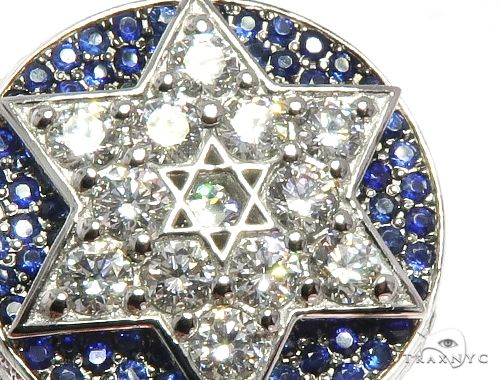 Flower Set Russian Cut Diamond Star of David Platinum Ring Stone