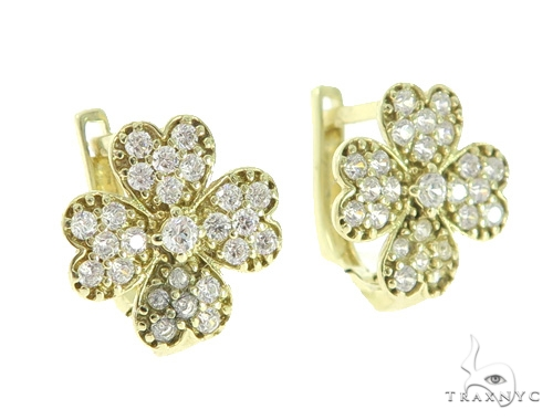 Four Leaf Clover Gold Hoop Earrings 49817 Metal