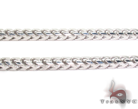 Franco White Silver Chain 30 Inches, 5mm,88.3 Grams Silver
