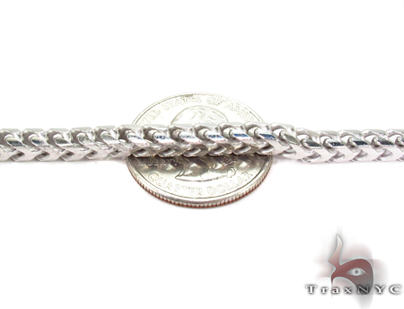 Franco White Silver Chain 30 Inches, 5mm,88.3 Grams Silver
