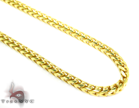 Franco Yellow Silver Chain 30 Inches, 3mm,61.5Grams Silver