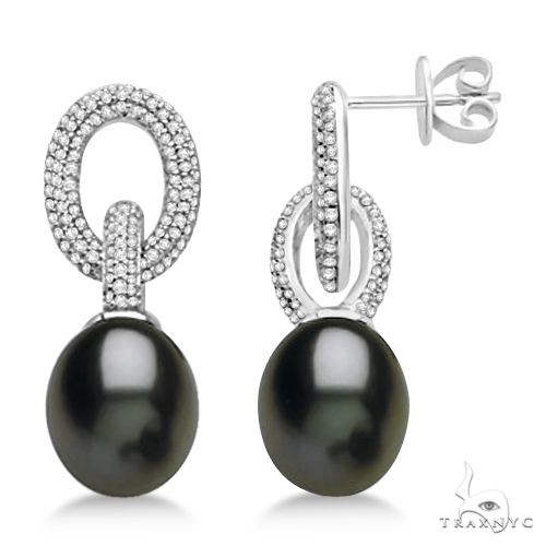 Freshwater Cultured Black Pearl and Diamond Earrings 14K W. Gold (10-11mm) Stone