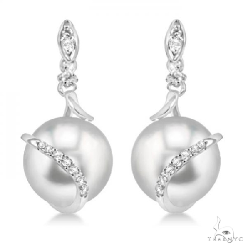 Freshwater Pearl and Diamond Twist Earrings 14k White Gold 9-9.5mm .14ct Stone