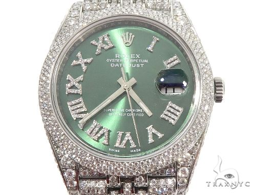 Full Diamond 41mm Date Just Rolex Watch 64055 Diamond Watch Inactive