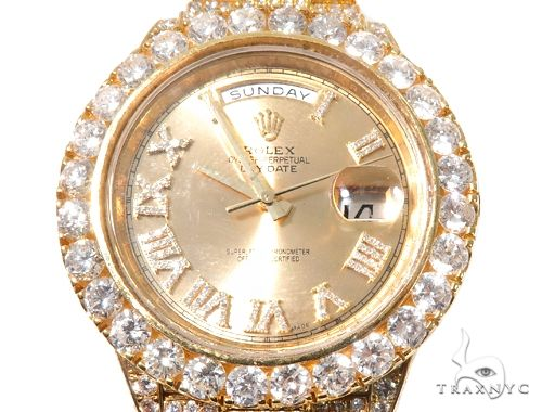 Fully Iced Day Date II Rolex Watch 64103 Diamond Watch Inactive