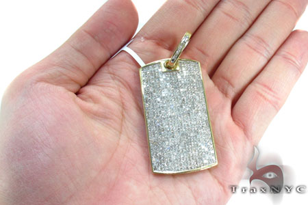 Fully Iced Invisible Diamond Dog Tag Style