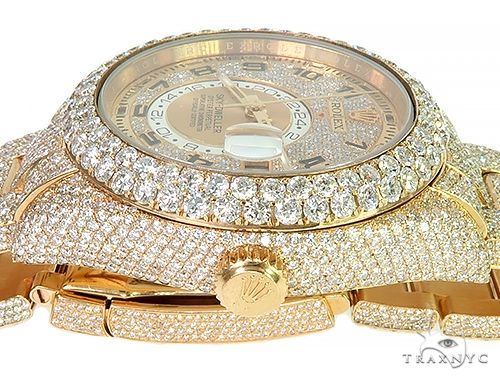 Fully Iced Out Sky-Dweller Oyster Perpetual Rolex Watch 66263 Diamond Rolex Watch Collection