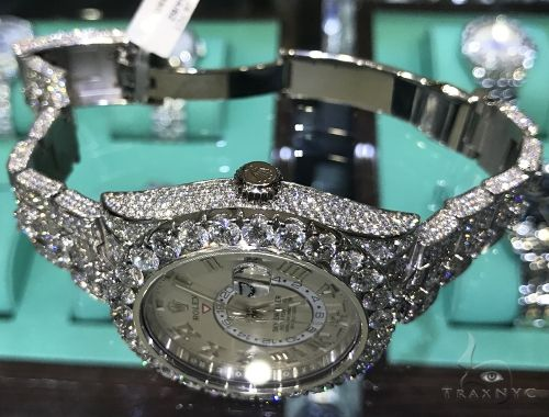 Fully Iced White Gold Sky-Dweller Rolex Watch Diamond Rolex Watch Collection
