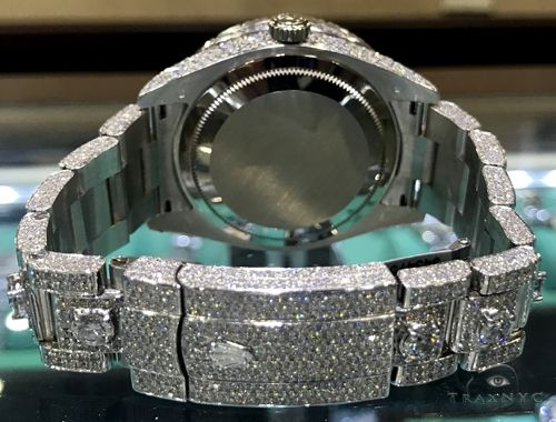 Fully Iced White Gold Sky-Dweller Rolex Watch 63897 Diamond Rolex Watch Collection