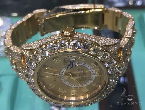 Fully Iced Yellow Gold Sky-Dweller Rolex Watch 63898 Diamond Rolex Watch Collection
