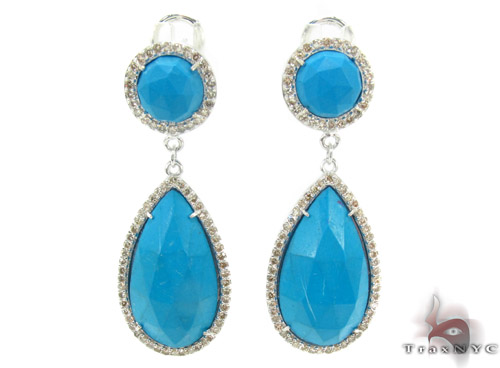 Vivid Blue Chalcedony Diamond Earrings 33745 Stone