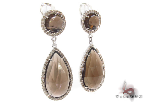 Light Brown Chalcedony Diamond Earrings 33746 Stone