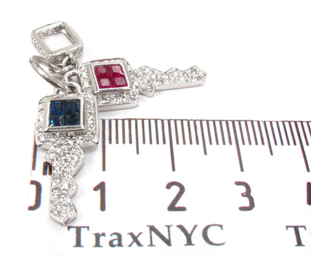 Blue & Pink Sapphire with Diamond Key Pendant Style