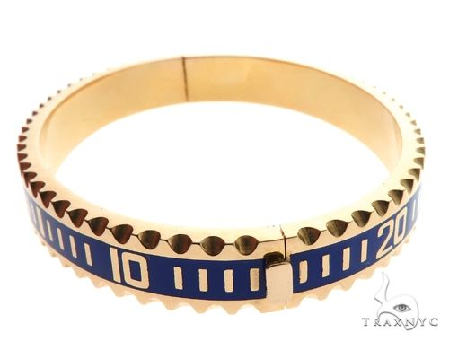 14K Yellow Gold Yacht Master II Style Bangle Bracelet Gold