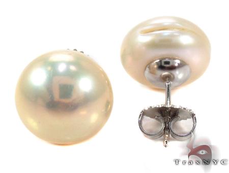 Gold Pearl Stud Earrings 27331 Stone