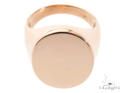 Ring Engravable Front ID Symbol Initial 14K 18K 22K Yellow White Rose Gold Metal