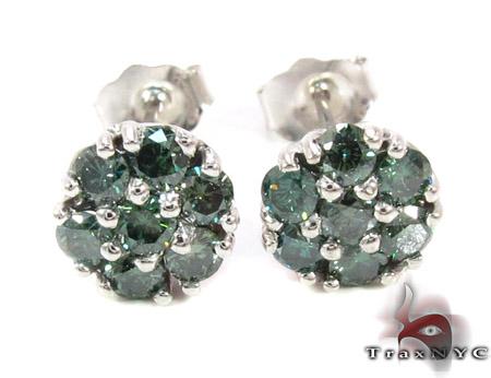 Green Diamond Cluster Earrings 12511 Stone