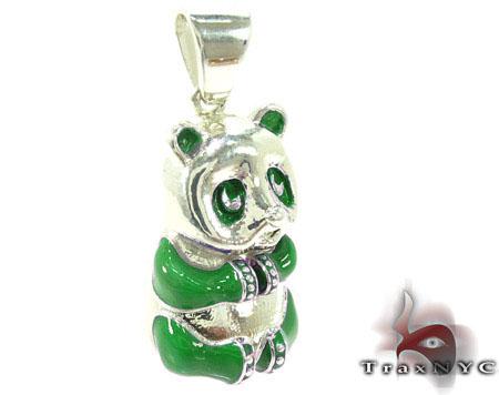 Green Enamel Panda Pendant Metal