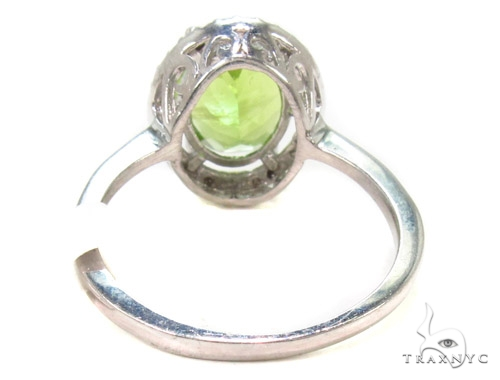 Green Gemstone Diamond Silver Ring 36828 Anniversary/Fashion