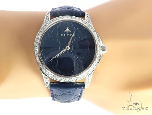 Gucci G-Timeless Blue Dial Diamond Watch with Leather Band 65038 Gucci