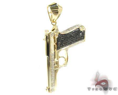 Gun with Bullet Yellow Gold Diamond Pendant Metal