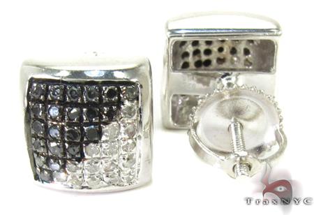 Half Black Color Diamond Square Earrings 26971 Metal