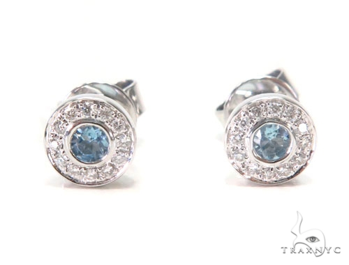Halo Stud Gemstone Diamond Earrings 44699 Stone
