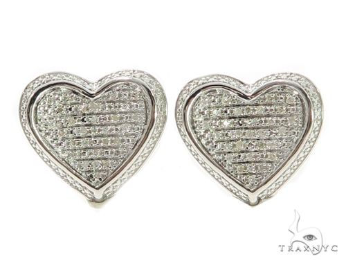 Heart Diamond Earrings 49357 Metal