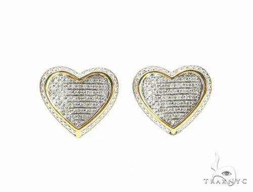 Heart Diamond Silver Earrings 44045 Metal