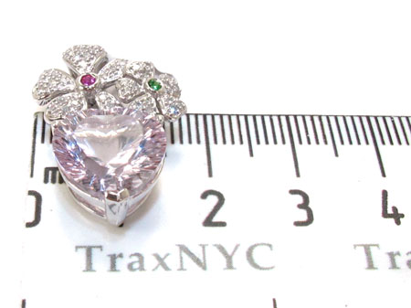 Heart Flower multi colored gemstones & Diamond Pendant Stone